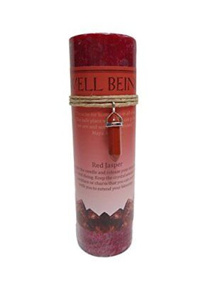 Red Jasper Crystal Energy Pillar Candle And Pendant Stone For Well Being
