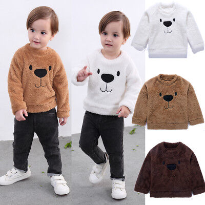 Infant Toddler Baby Girl Boy Tops Blouse Sweater Sweatshirt Velvet Thick Clothes