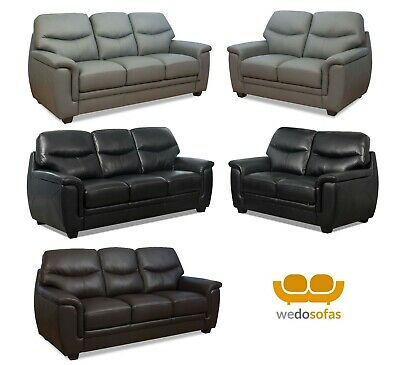 Shelby 3 Seater and 2 Seater Sofas Grey Black and Brown