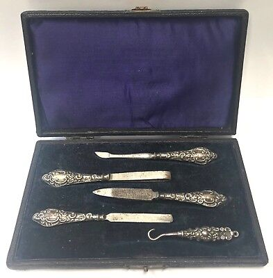 Antique Chester Silver Manicure Set In Box J & R Griffin 1907