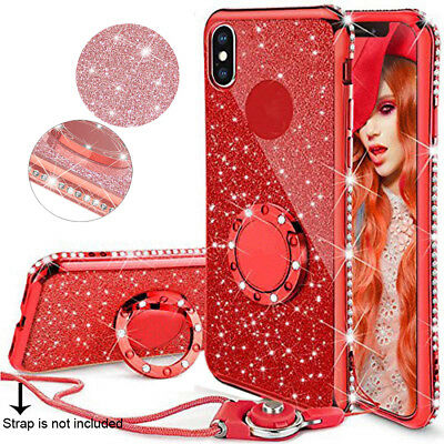 For iPhone Xs XR Xs Max 8 Plus Bling Glitter Diamond Soft Ring Stand Case Cover