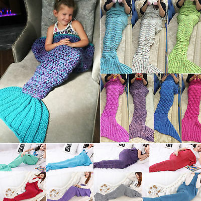 Soft Knit Mermaid Tail Blanket Crocheted Sofa Sleeping Bag For Babys Kids Adults