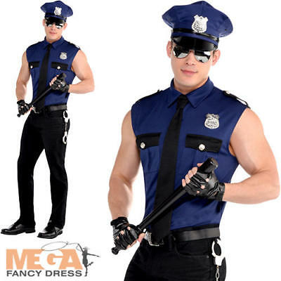 Sexy Policeman Mens Fancy Dress Cop Police Officer Stag Uniform Adults Costume