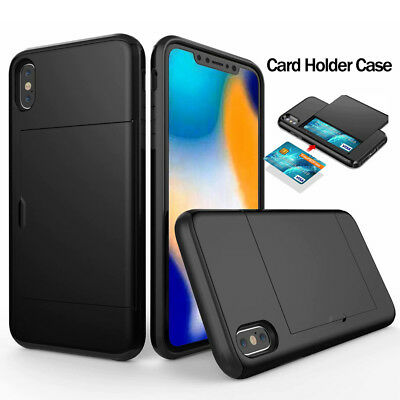 For iPhone Xs Max XR 7 8 X Hybrid Wallet Card Case Shockproof Bumper Cover Case