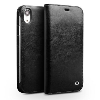 QIALINO Genuine Cowhide Leather Wallet Case Cover for iPhone XR 6.1 inch