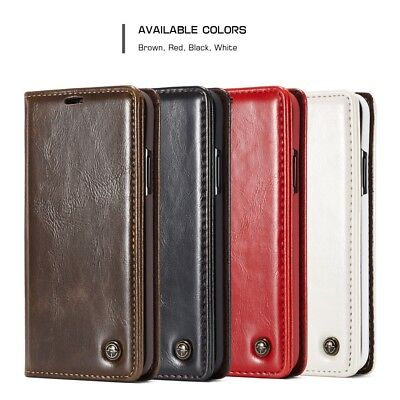 CASEME Oil Wax PU Leather Magnetic Wallet Stand Case Cover for iPhone XR 6.1inch