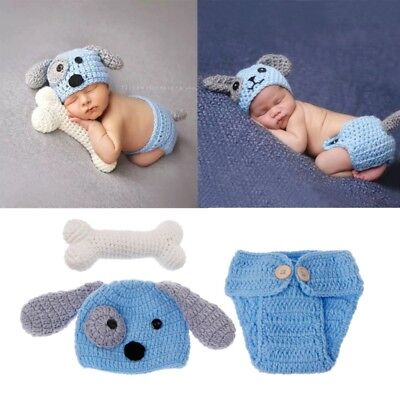 Newborn Photography Props Lovely Dog Costume Set knitting studio photography