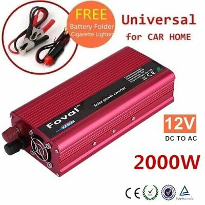 2000W DC 12V to AC 110V 120V Car Power Inverter Charger Converter USB Charger PC