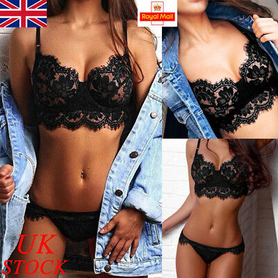 UK Womens Lace Floral Bralette Bralet Bra Bustier Top Underwear Set Lingerie