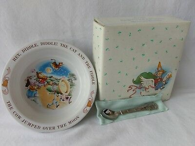 Avon Babys Keepsake Spoon and Bowl Set Hey Diddle Hickory Dickory 1984 NEW N BOX