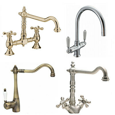ENKI Traditional Victorian Kitchen Sink Mixer Monobloc Tap Brass Bronze Bridge
