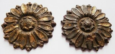 2 Gilded medieval bronze patches/overlays in the form of flower