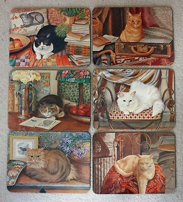 NEW Set of 6 Jason Placemats Cats Design - Cat Kitchen Coasters Cork Wooden Gift