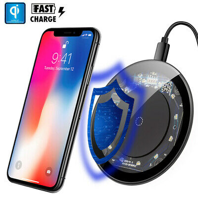 Baseus Qi Fast Wireless Charger Temper Glass Pad For iPhone Xs Max X Samsung S9+
