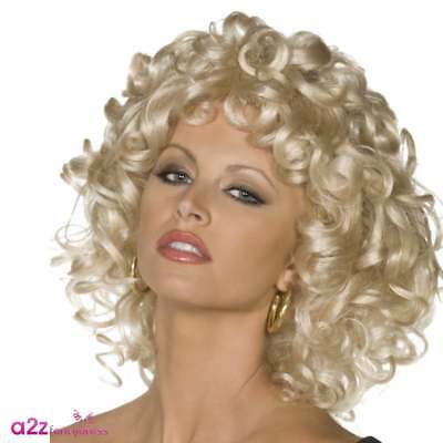 Grease Sandy Wig Last Scene Blonde Curly Official Fancy Dress Costume Accessory