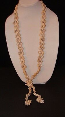 "Vintage 70's Hawaiian Cowrie Shell FLOWER DANGLES 36"" NECKLACE Lei Luau NOS"