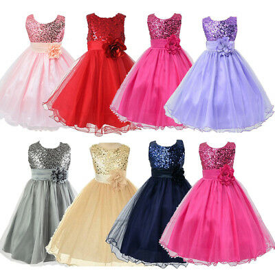 Kids Flower Girl Party Sequins Princess Dress Party Wedding Festive Dresses 7-8Y
