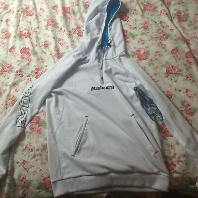 Warm-up Top/ Hoodie - Babolat. White And Blue. Size Medium.