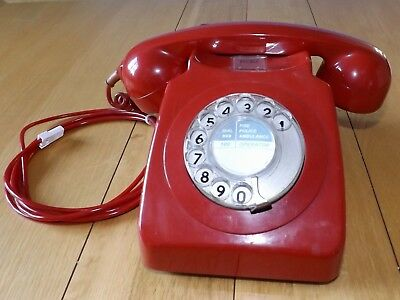 Original Vintage 1970's GPO 746 Red Rotary Dial Telephone