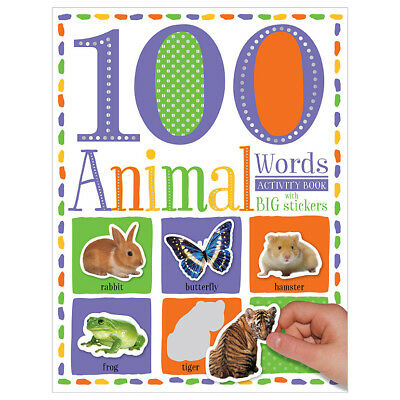 100 Animal Words Activity Book With Big Stickers Children's Kids Christmas Gift