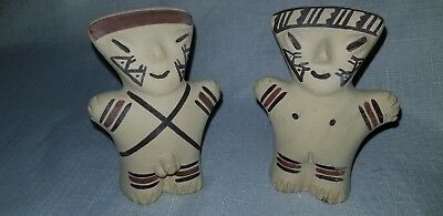 Pre columbian pottery Reproduction  Couple  Maya Inca Tepuy tribal painted clay