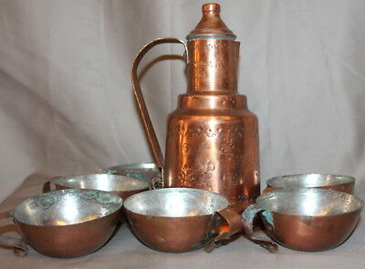 Vintage Hand Made Folk Tinned Copper Set Pitcher Jug And 5 Cups Mugs