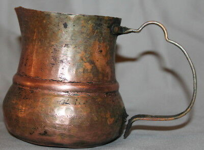 Vintage Hand Made Folk Copper Pitcher Jug