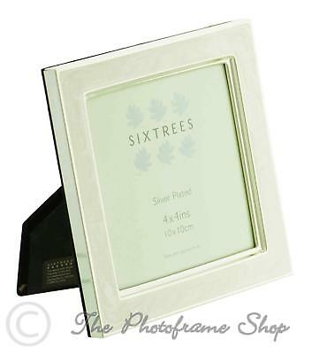 Sixtrees Zurich Deco White Enamel & Silver Plate Photo Frame 4x4 inch Picture
