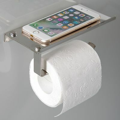 Toilet Roll Holder With Phone Storage Shelf.Stainless Steel Toilet Paper Holder