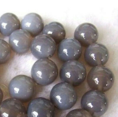 6mm~12mm Natural Grey Agate Round Beads 15''