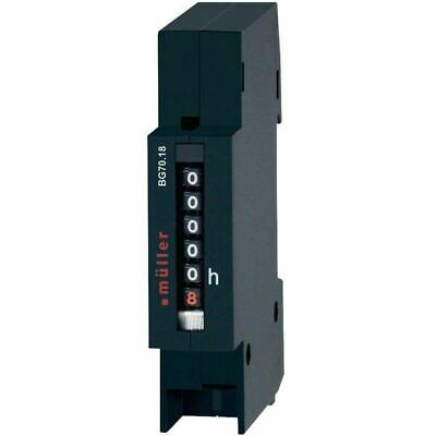 Muller BW7018 Operating Hours Counter DIN Rail Mount 45x17.5mm 230VAC