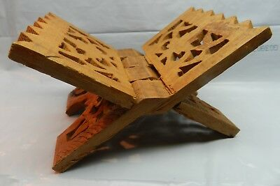 """Hand Carved One Piece Of WOOD Mini Folding Tripod 5"""" STAND book rest"""
