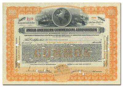Anglo American Commercial Corporation Stock Certificate (Shipping Concern)