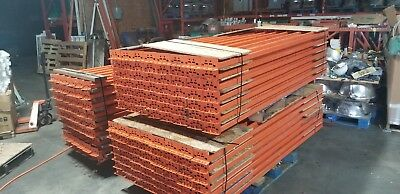 2 Lots of used Pallet Racking (9) 16 ft by 48 in Uprights with 48 Crossbeams