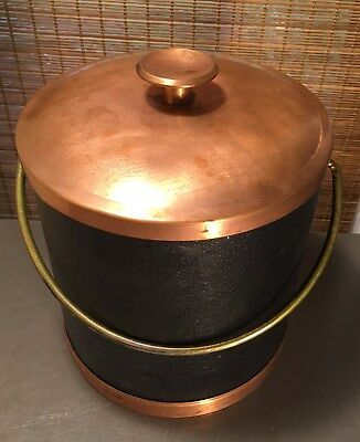 Vintage MSM Coppercraft Guild Black Faux Leather & Copper Ice Bucket with Tongs