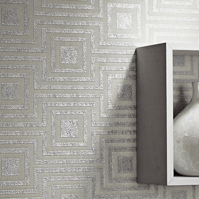 NEW Arthouse Modena Silver Sqaure Geoemtric Luxury StylishWallpaper 901800