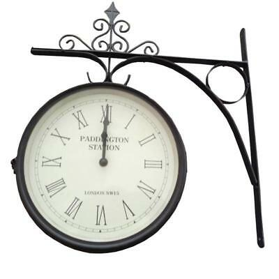 Outdoor Traditional Trainstation Large Clock Garden Rustic Bracket Fixed Wall