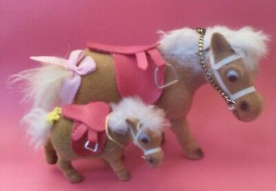 Two Vintage Felted Flocked Thelwell Type Pudgy Pony Toys, Marked G Hong Kong
