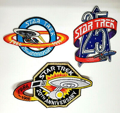 Star Trek Anniversaire Patch Lot de 3-Vintage- 20 Ème / 25th/40th (Stpal-An-Set)