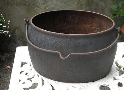 Antique Cast Iron Hanging Cooking Pot Cauldron Gypsy Planter