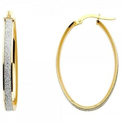 14K Gold 6mm Thickness Two Line Sparkling Center Hoop Hinged Earrings Ioka