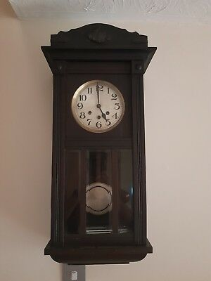 Antique Wall Clock Westminster chime quarter chime 4 day with key working order