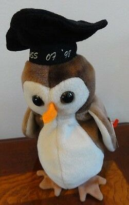 """TY BEANIE BABIES BABY WISE the OWL GRADUATION CLASS OF 1998 MWMT 7"""""""