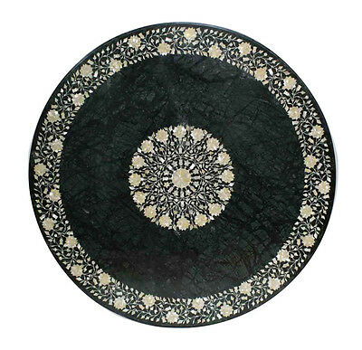 Size 4'x4' Marble Dining Table Top Mother of Pearl Gem Mosaic Inlaid Arts Decor