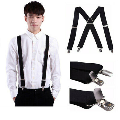 Mens Suspenders Adjustable and Elastic Braces X Shape W Strong Clips Heavy Duty