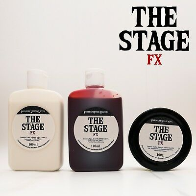 The Stage FX Triple SET Scar Wax + Fake Blood + Liquid Latex Halloween Zombie