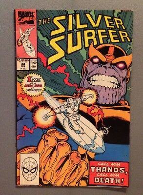1990 - Silver Surfer #34 Feb  Marvel Comic Book - featuring THANOS - ⭐️VINTAGE⭐️