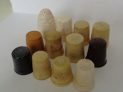 Collection of 12 Vintage/ Antique, Bakelite/ Plastic & Other Material Thimbles