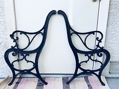 Rare Antique Three Piece Park Bench Ends With Center Piece For Extended Length.