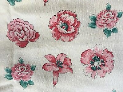 Vintage Fabric Linen Remnant White with Red Roses pattern,100% Cotton *NEW*